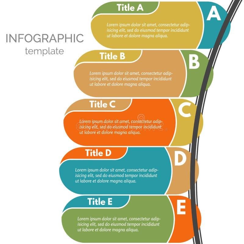 Cinq éléments infographic de conception d'étapes illustration de vecteur