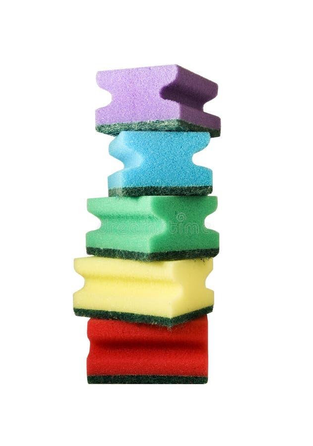 Cinq éponges multicolores photo stock