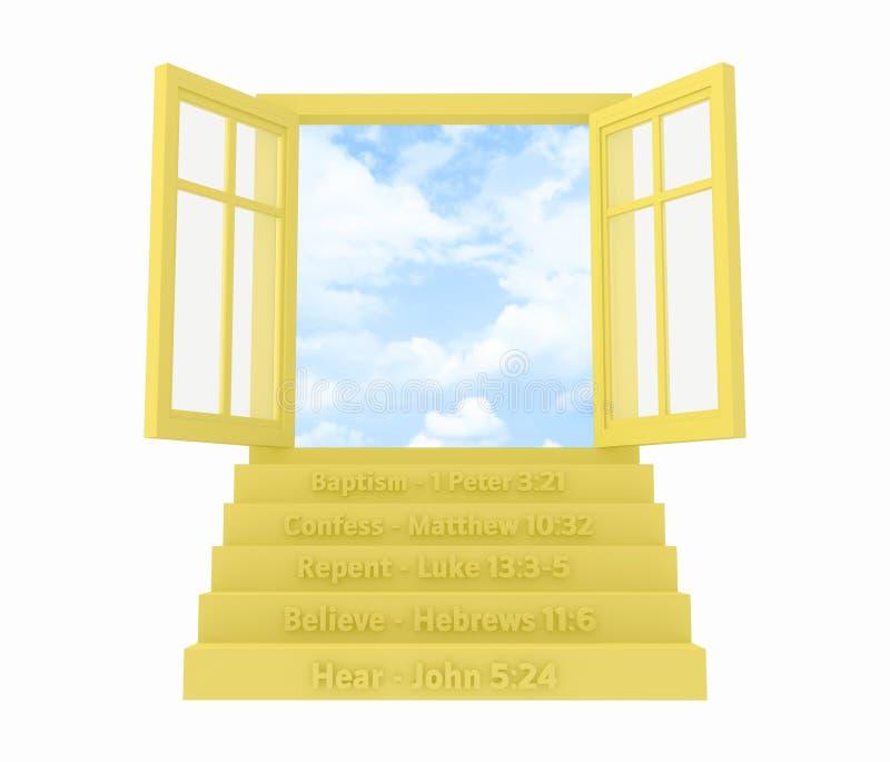 Cinq étapes à la fenêtre ouverte de salut illustration libre de droits