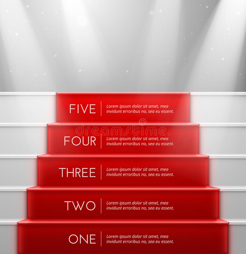 Cinq étapes illustration de vecteur
