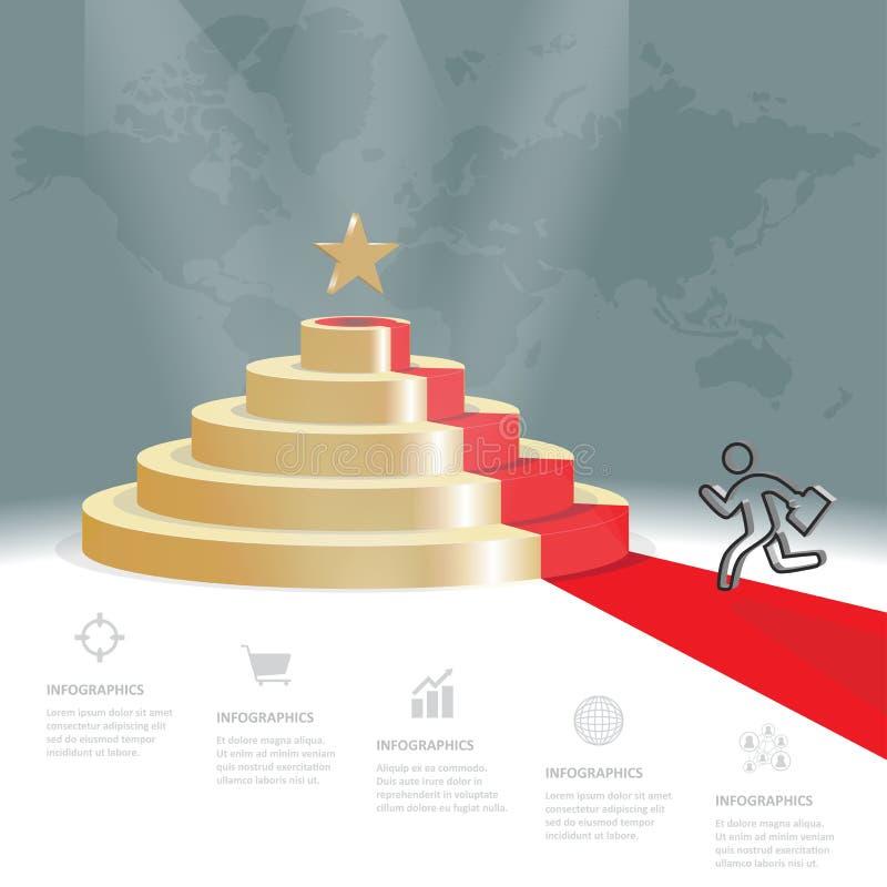 Cinq étapes de stratégie d'escalier vont être l'étoile, infographics de vecteur illustration de vecteur