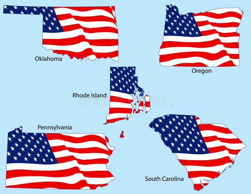 Cinq états avec des indicateurs illustration libre de droits