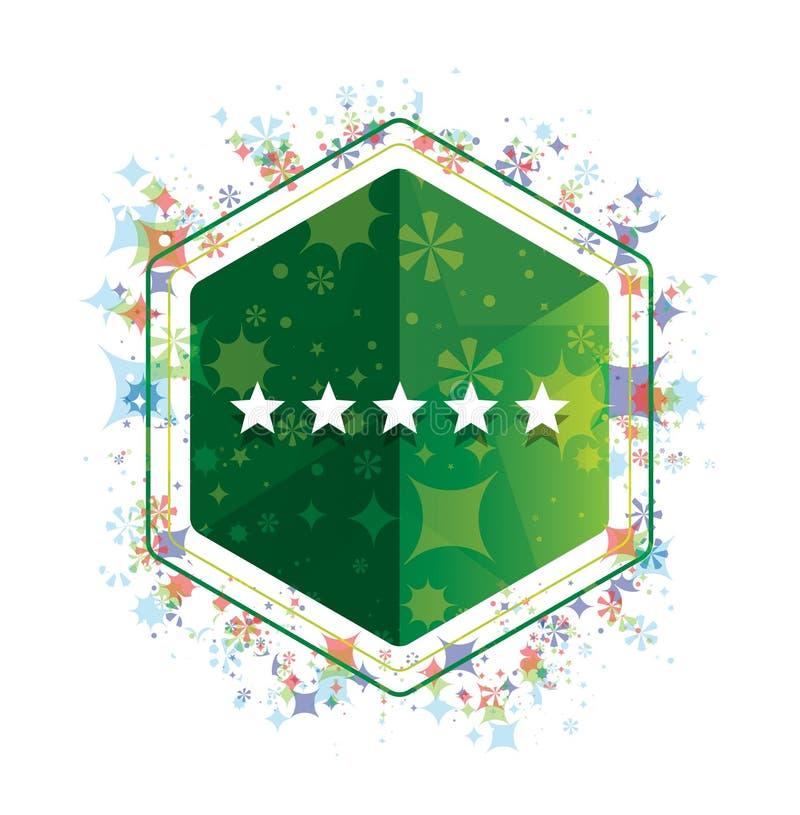 Cinq étoiles évaluant le bouton floral d'hexagone de vert de modèle d'usines d'icône illustration libre de droits