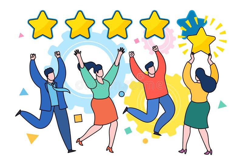 Cinq étoiles évaluant le concept plat de vecteur de style illustration libre de droits