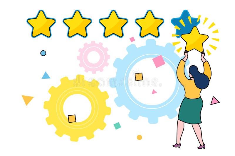 Cinq étoiles évaluant le concept plat de vecteur de style illustration de vecteur