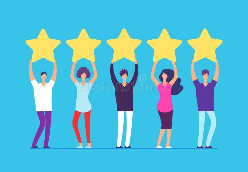 Cinq étoiles évaluant le concept Rétroaction positive d'examen de client Les gens avec des étoiles d'or dans des mains Vecteur d' illustration libre de droits