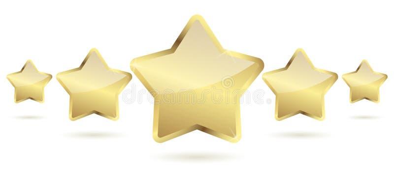 cinq étoiles d'or avec l'ombre dans une rangée illustration stock