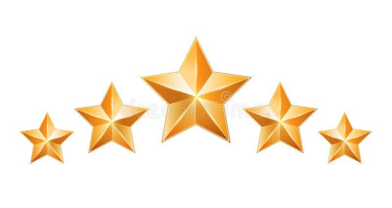 Cinq étoiles d'or d'isolement sur le fond blanc illustration stock