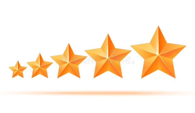 Cinq étoiles de l'or 3d de la meilleure qualité La meilleure récompense illustration de vecteur