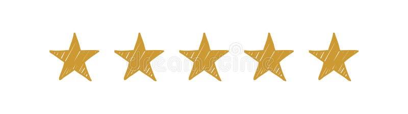 Cinq étoiles tirées par la main d'or sur le fond blanc illustration stock
