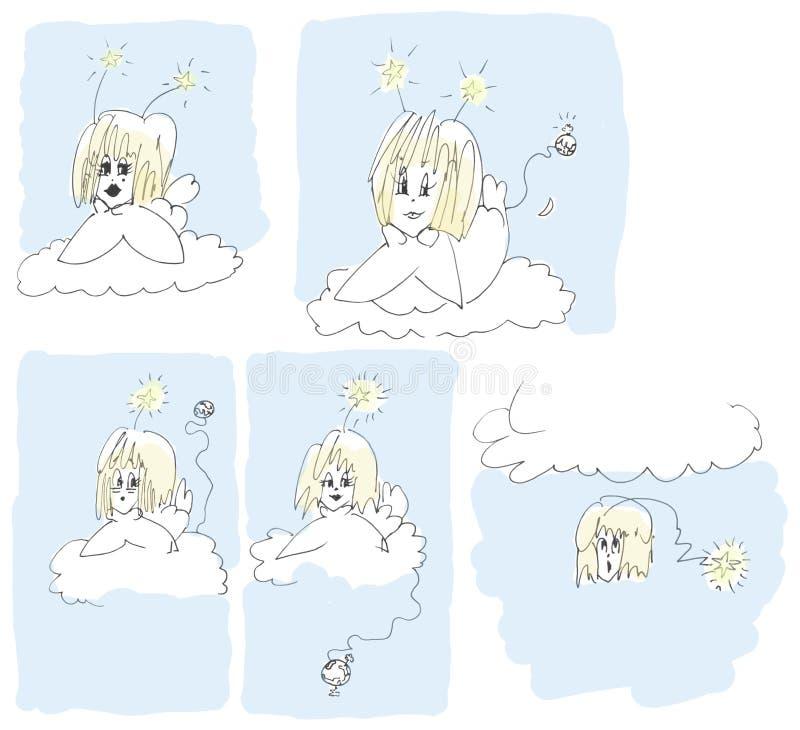 Cinq anges colorized illustration de vecteur