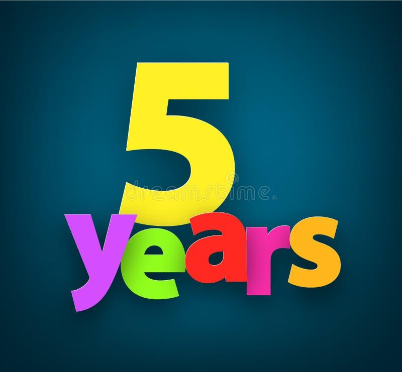 Cinq ans de signe de papier illustration de vecteur