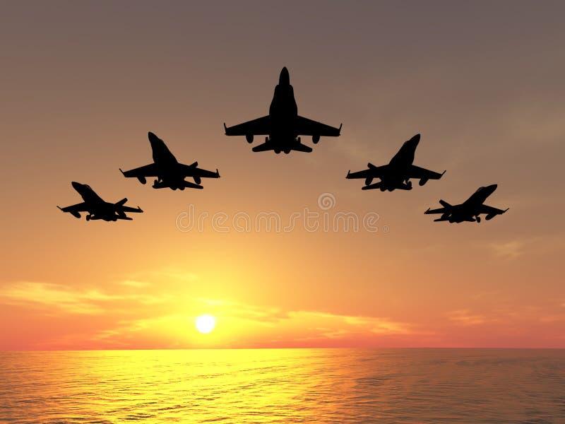 Cinq avions à réaction photographie stock libre de droits