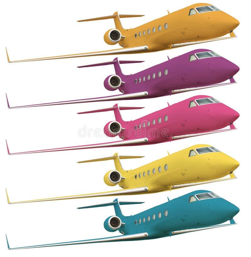 Cinq avions colorés avec le chemin de découpage photographie stock