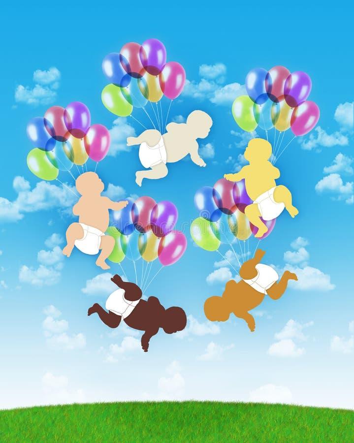 Cinq bébés de différentes races humaines volant sur les ballons colorés illustration stock