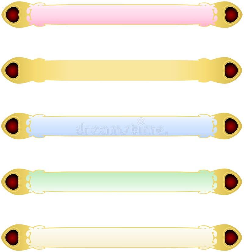 Cinq bannières abstraites de couleur verte de rose de rouge bleu avec le vecteur en cristal de coeurs de frontière métallique d'o illustration de vecteur