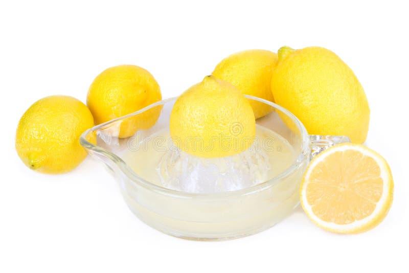 Cinq citrons avec un Juicer photo stock