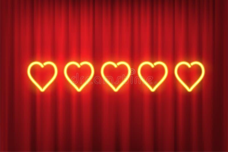 Cinq coeurs au néon jaunes évaluant l'élément de conception d'isolement sur le fond rouge de rideau Dirigez les formes au néon de illustration libre de droits