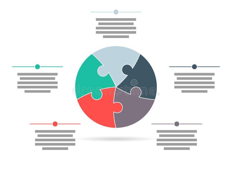 Cinq colorés ont dégrossi calibre infographic de présentation de puzzle de cercle illustration de vecteur