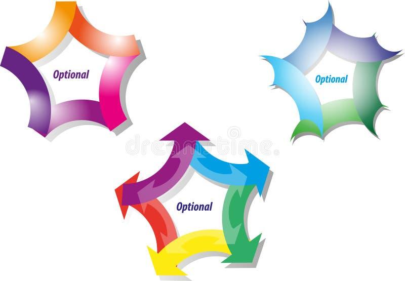 Cinq diagrammes de stratégie d'étape illustration de vecteur