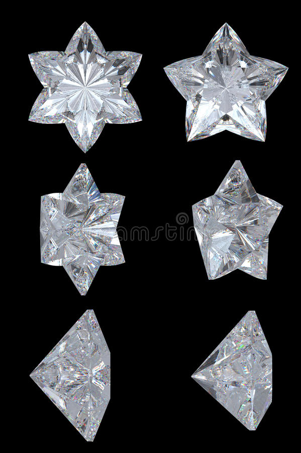 Cinq dirigés, six étoiles de diamant de point illustration libre de droits