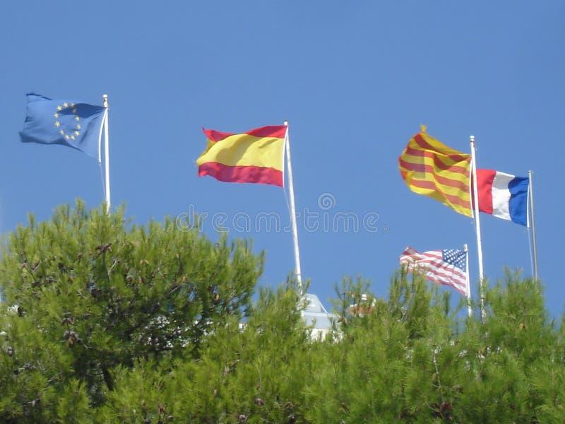 Cinq drapeaux augmentés avec le soleil photo libre de droits