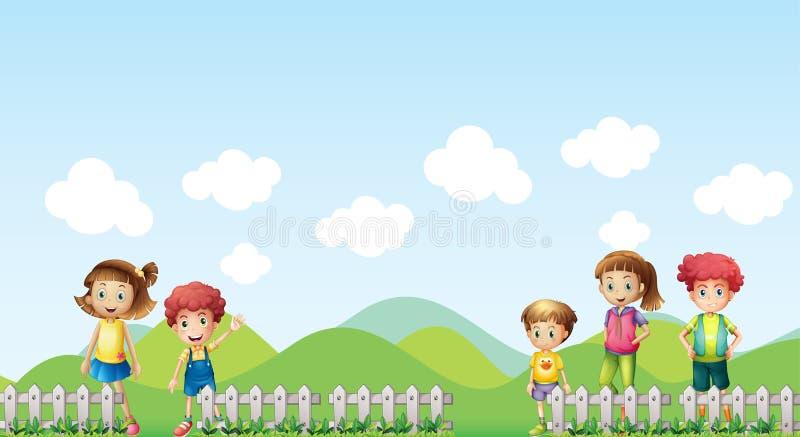 Cinq enfants dans la ferme illustration de vecteur