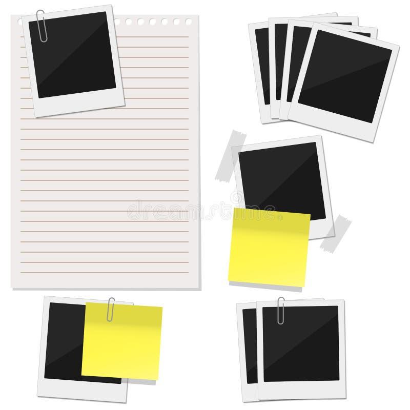 Cinq ensembles divers se composant d'une feuille de papier, autocollants de note illustration stock