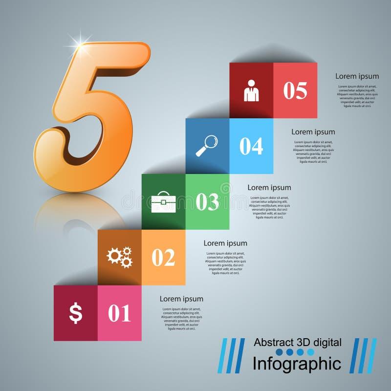 Cinq escalier Infographics vers le haut de l'échelle au succès Escalier d'affaires illustration de vecteur