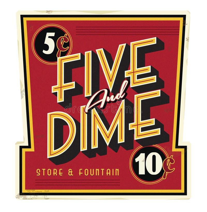 Cinq et signe de vintage de Main Street d'épicerie générale de dixième de dollar illustration libre de droits