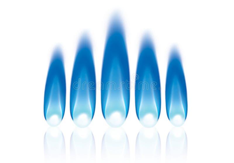 Cinq flammes de gaz naturel ont aligné illustration de vecteur