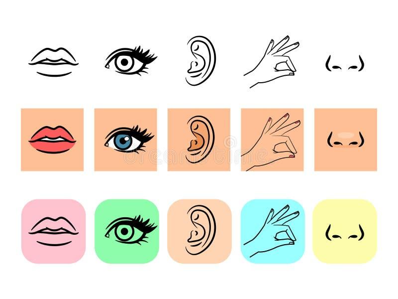 Cinq graphismes de sens illustration de vecteur