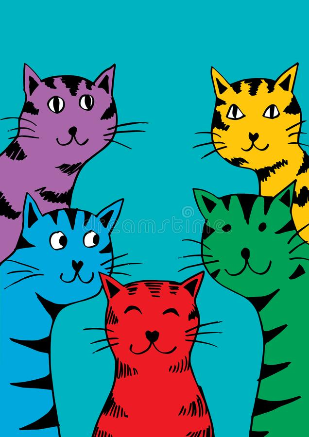 Cinq gros chats de bande dessinée illustration libre de droits