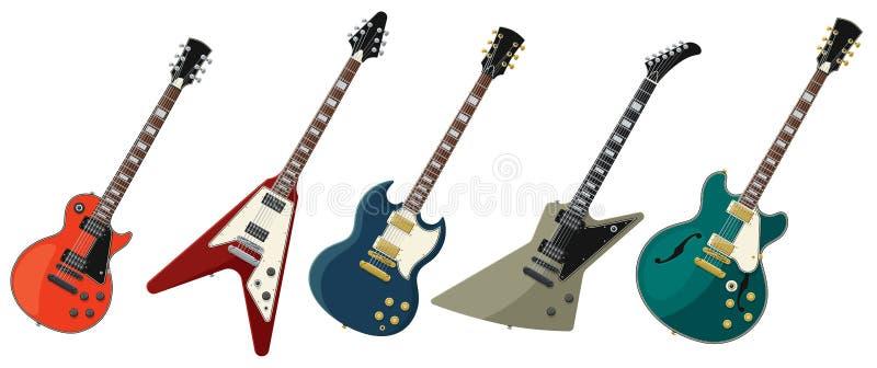 Cinq guitares électriques d'isolement sur le fond blanc illustration de vecteur