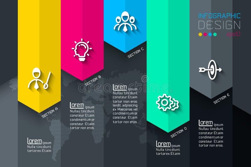 Cinq labels avec l'infographics d'icône d'affaires illustration de vecteur