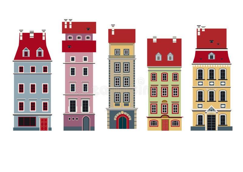 Cinq maisons illustration libre de droits