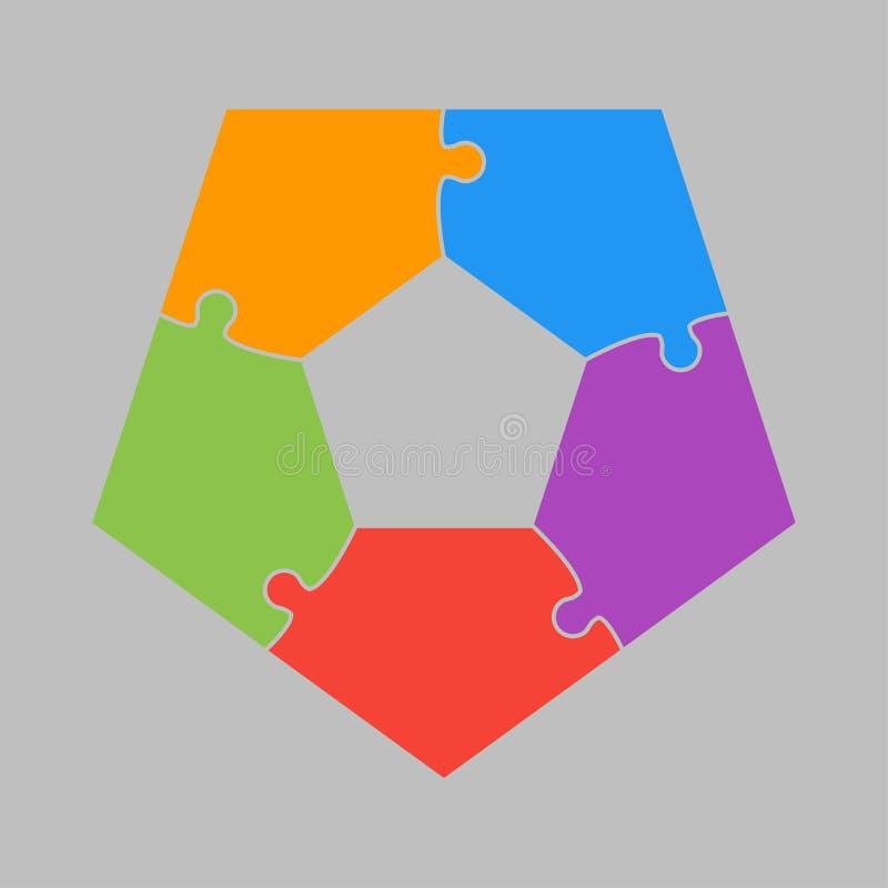 Cinq morceaux de puzzle denteux de pentagone de graphique de l'information illustration libre de droits