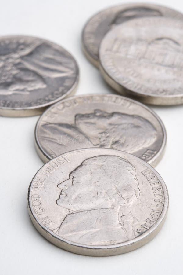 Cinq nickels photo stock