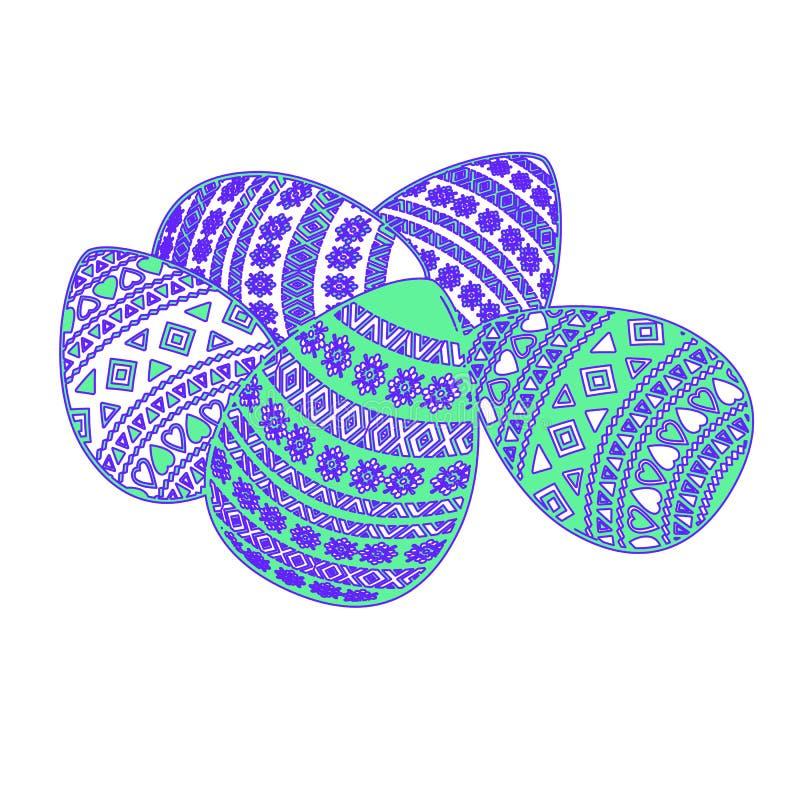 Cinq oeufs de pâques avec l'ornement géométrique sur le fond blanc photos stock