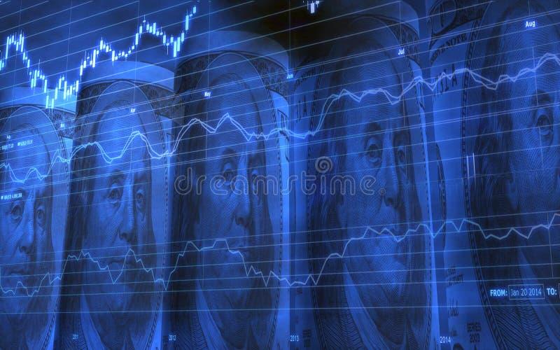 Cinq ont roulé vers le haut de 100 billets d'un dollar avec le diagramme de marché boursier illustration libre de droits