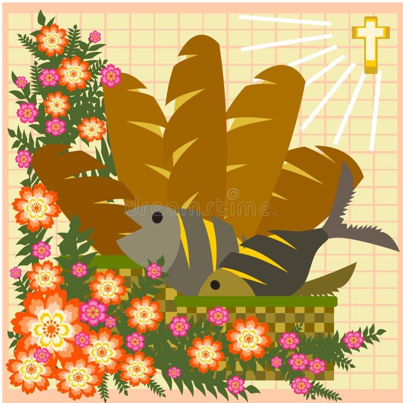 Cinq pains et deux poissons illustration de vecteur