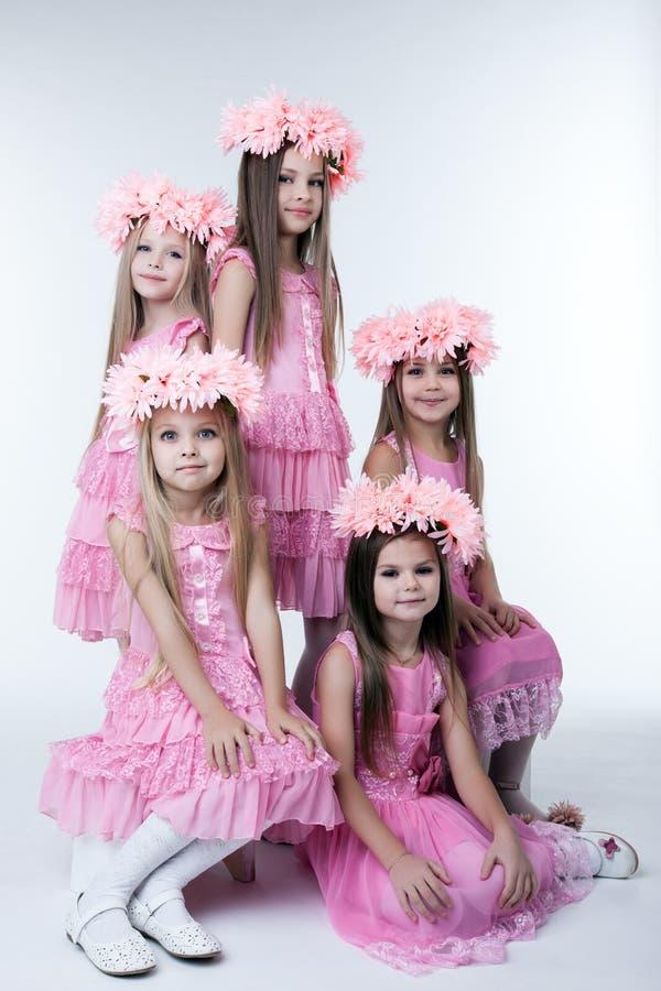 Cinq petites filles en robes et guirlandes roses photo libre de droits