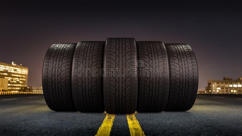 Cinq pneus roulant sur une rue dans une ville la nuit illustration stock