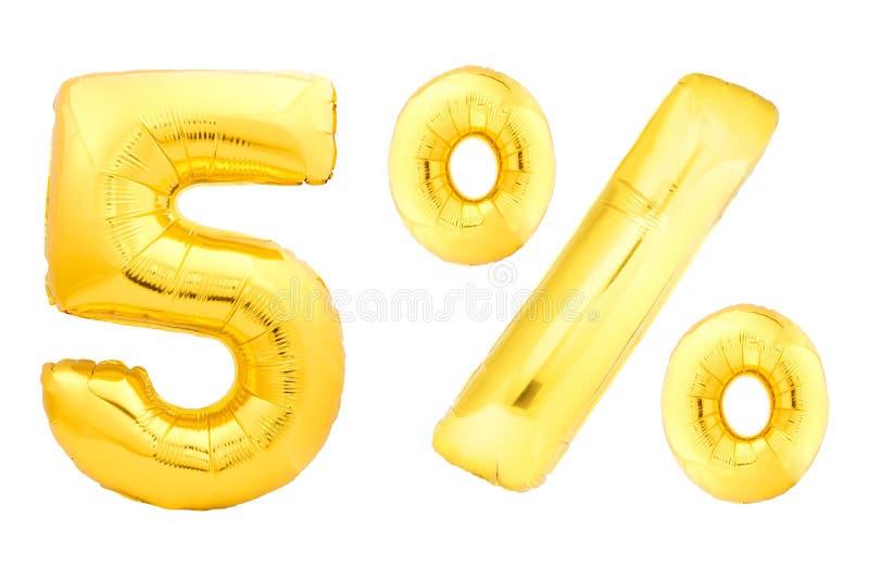Cinq pour cent d'or faits de ballons gonflables photos libres de droits