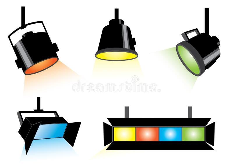 Cinq projecteurs illustration de vecteur