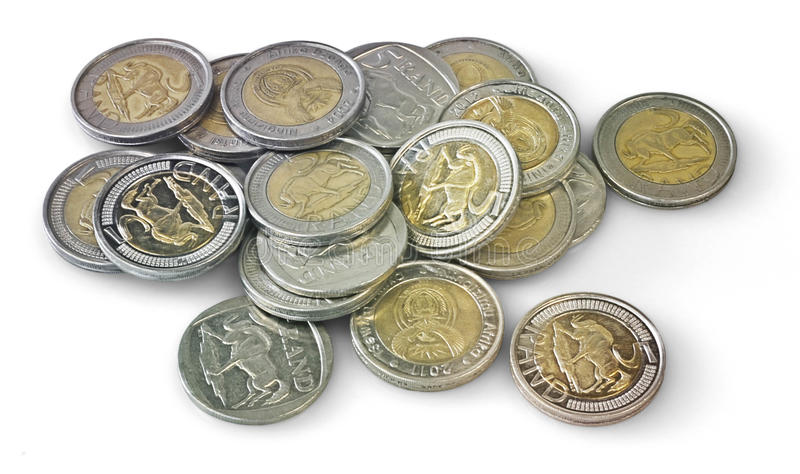Cinq Rand Coins photographie stock
