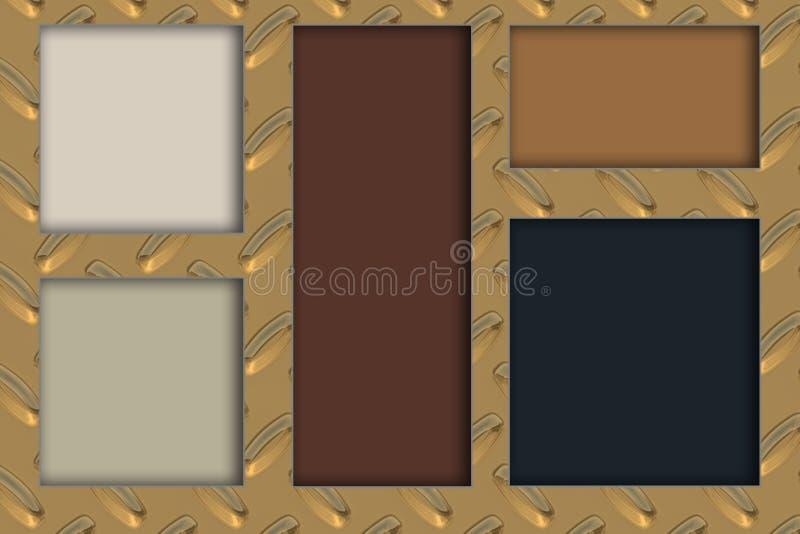 Cinq rectangles multicolores et fond métallique d'or illustration stock