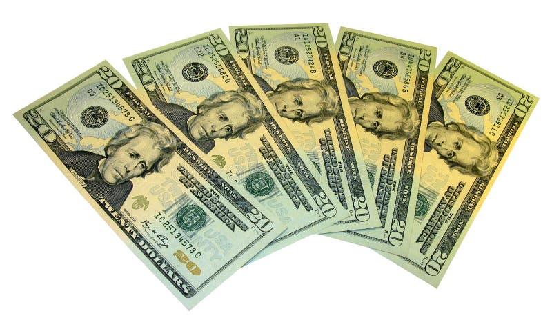Cinq vingt billets de banque du dollar images libres de droits