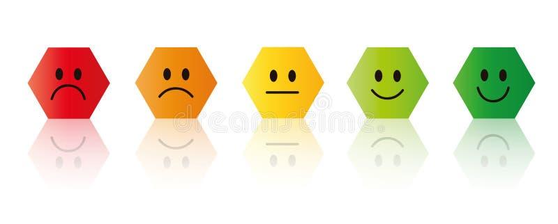 Cinq visages souriants de évaluation rouges pour verdir le polygone illustration de vecteur