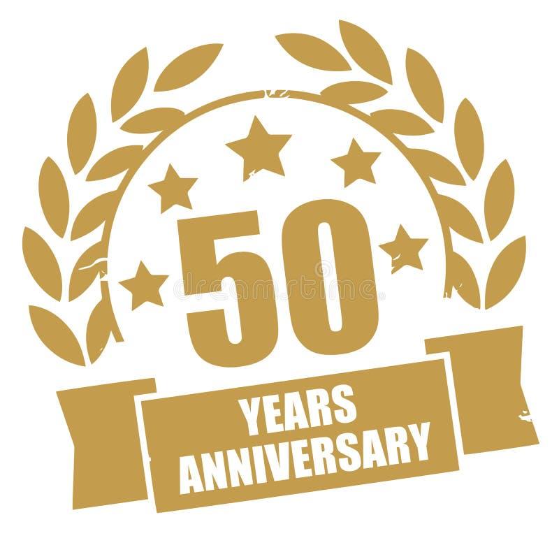 Cinquanta anni di anniversario di bollo dorato di lerciume illustrazione vettoriale